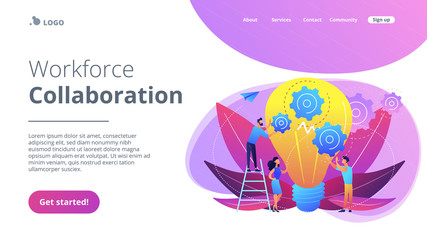 Teamwork concept landing page.