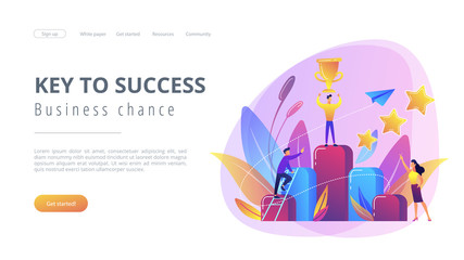 Key to success concept landing page.