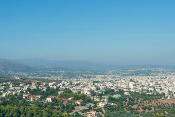 Panorama of the chania city on the dusk. Crete island, Greece