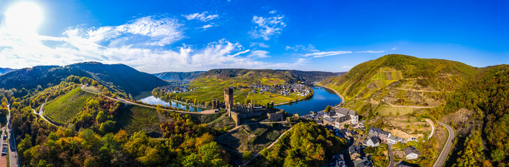 Aerial view, Poltersdorf with vineyards and the castle Metternich, Mosel, Cochem-Zell district, Rhineland-Palatinate, Germany