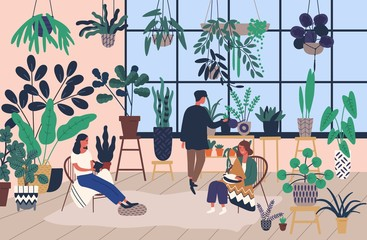 Group of people or friends spending time at greenhouse or home garden with plants growing in pots. Young men and women caring for houseplants. Trendy vector illustration in flat cartoon style.