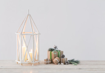 Christmas decorations with burning candles