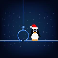 Penguin in Santa hat, Christmas toy icon vector illustration eps10.