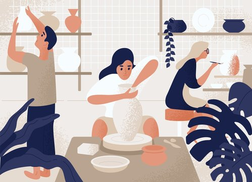 Men and women making and decorating pots, earthenware, crockery and other ceramics at pottery workshop. Group of people enjoying their hobby. Colorful vector illustration in flat cartoon style.