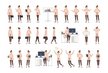 Young female office worker wearing smart clothing in various positions, moods, situations and expressing different emotions. Flat cartoon character isolated on white background. Vector illustration.