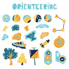 orienteering sport equipment. Vector illustration