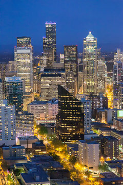 Seattle Cityscape ,View of downtown Seattle at night in Seattle Washington, USA