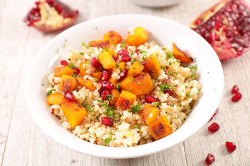 quinoa salad with pumpkin and pomegranate