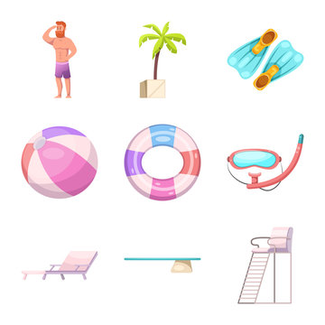 Isolated object of pool and swimming sign. Set of pool and activity stock vector illustration.