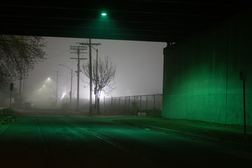 A dark underpass on a foggy night in east Los Angeles, California