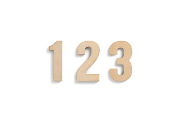 """wooden numbers """"123"""" on white background"""