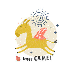 Vector background with cute camel