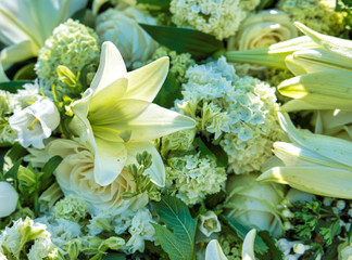 white flowers for funeral
