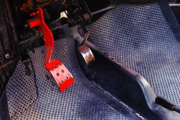 Old car - buggy, red brake pedal close-up