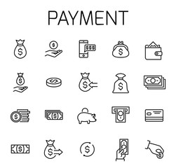Payment related vector icon set