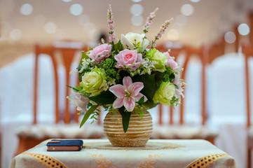 Flower vases beautiful on table