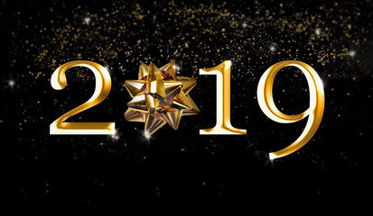 2019 new year with golden number and ribbon on  night starry background
