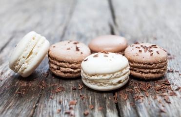Acrylic Prints Macarons macarons vanille et chocolat