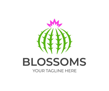 Round cactus with flower logo design. Green cactus with sharp thorns vector design. Cacti logotype