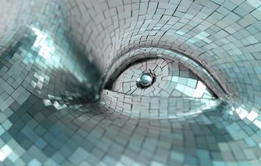 Concepto de inteligencia artificial y robotica.Detalle de ojo de cyborg.Tecnologia y ciencia