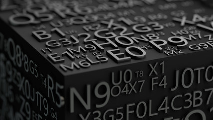 Secret code and password concept.3D illustration of numbers and letters in black.Programming and data security.