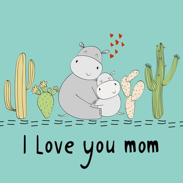 Baby shower cards. Vector hippo mom and baby
