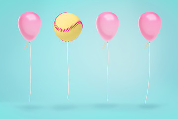 3d rendering of large yellow baseball ball hovers in a line of several pink balloons on blue background.
