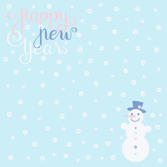 Inscription Happy New Year, snowman and snowflake-buttons in light bleu backdrop
