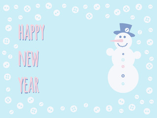 Place for your text with the inscription Happy New Year, snowman and snowflake-buttons in light bleu backdrop