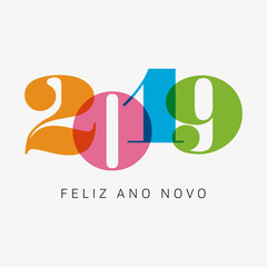 Happy new year 2019 card, numbers font. Editable vector design. Spanish version.