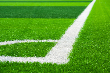 Corner of football field on artificial grass