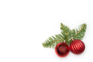 Christmas ornaments decoration on white background. Flat lay or top view.