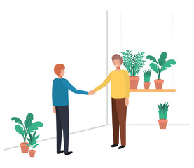 women with house plant avatar character