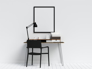 Creative Workspace with Poster Frame Mock Up