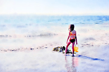 Watercolour painting. Back view of young girl holding an orange bucket on a sandy beach in summer, looking out to sea.