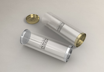 Cylinder Packaging with Metal Plug Caps Mockup
