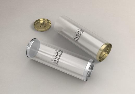 Cylinder Packaging with Metal Plug Caps Mockup
