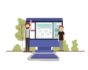 men with computer desktop in landscape