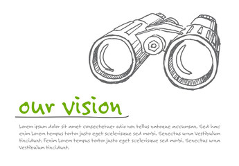 Infographic Layout with Binocular Illustration