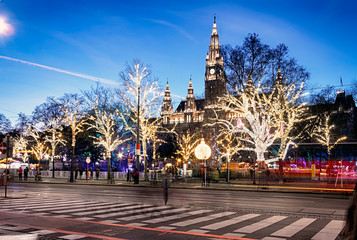 Rathaus (Town Hall) at Rathausplatz at twilight in Christmas time, Innere Stadt, Vienna, Austria.