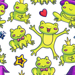 Seamless background of happy frogs