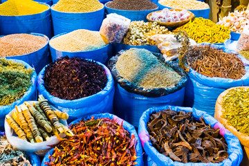 Spices market in main bazzar in the medina of Capital city Rabat in Morocco