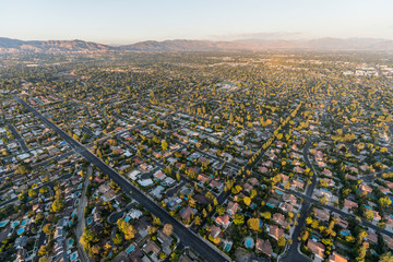 Aerial view towards Lassen St and Corbin Ave in the Northridge community in the San Fernando Valley region of Los Angeles, California.