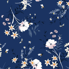 Vector blooming Floral pattern in the many kind of flowers. Botanical  Motifs scattered random. Seamless vector texture. For fashion prints. Printing with in hand drawn style