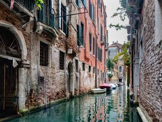 Aluminium Prints Venice narrow canal in summer in venice