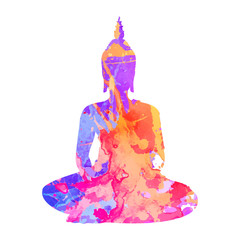 Silhouette of Buddha meditating in the single lotus position. Silhouette with a trced watercolor texture. Textile print, yoga background. Tattoo design. EPS10 vector illustration