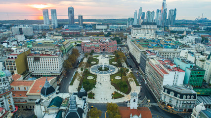 Aerial photo with drones. Plaza de Mayo (May square) in Buenos Aires, Argentina. It's the hub of the political life of Argentina.