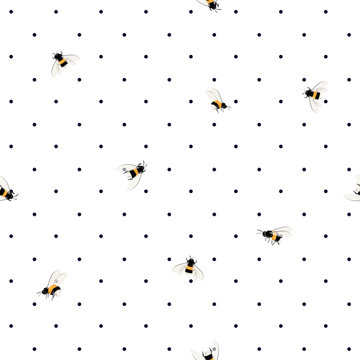 Trendy seamless bees pattern on polka dots background. Hand drawing bee illustration style design for textile, decor,