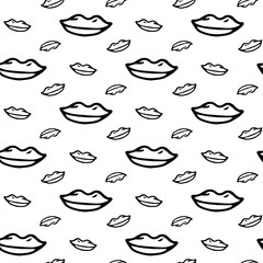 Seamless pattern hand drawn lips. Doodle black sketch. Sign symbol. Decoration element. Isolated on white background. Flat design. Vector illustration