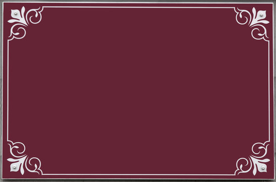 Empty plum colored sign with white scroll design around border. Isolated. Copy space.